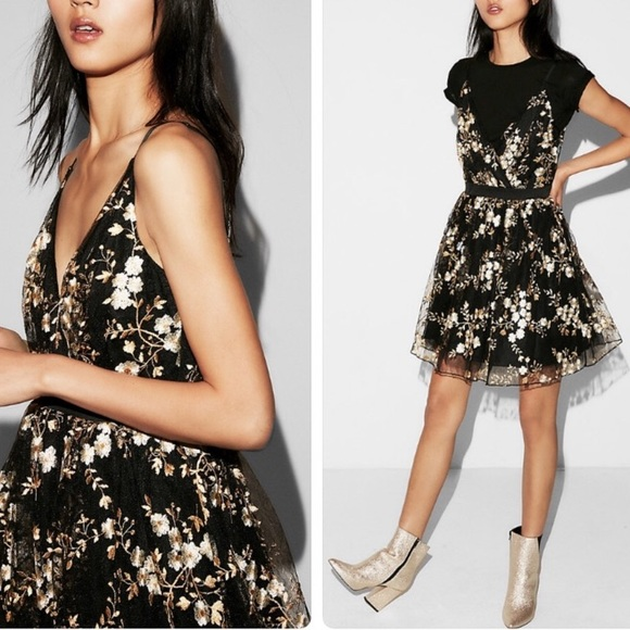 Express Dresses & Skirts - Express black tulle dress with gold embroidery